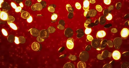 monety : Vintage golden coins. Business and finance concept background. 3D rendering Wideo