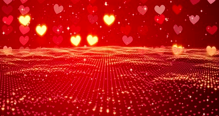 wedding and gold : Red hearts. Happy Valentines day background. 3D rendering.