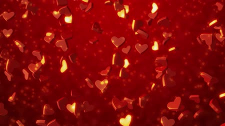 d day : Red hearts 3 d texture. Valentines day background. 3D rendering Stock Footage