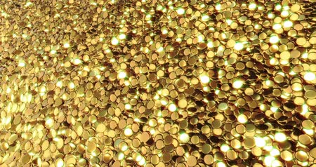 nugget : Ingots of pure gold. Golden background. Gold leaf texture. 3D rendering Stock Footage