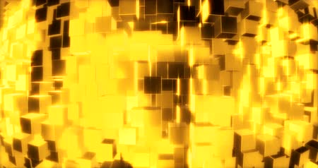perspectives : Abstract graphics background with golden cubes on a sphere. 3d rendering Stock Footage