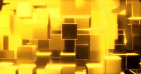 şifreleme : Abstract graphics background with golden cubes on a sphere. 3d rendering Stok Video
