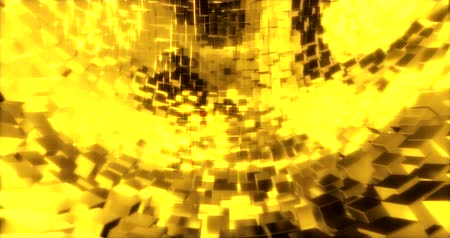 block chain : Abstract graphics background with golden cubes on a sphere. 3d rendering Stock Footage