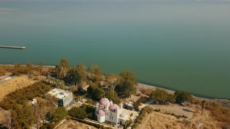 ピーター : Orthodox Church of the 12 apostles. Sea of Galilee. Capernaum. Aerial view