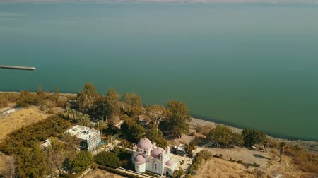 パレスチナ : Orthodox Church of the 12 apostles. Sea of Galilee. Capernaum. Aerial view