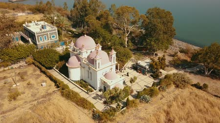 apotre : Orthodox Church of the 12 apostles. Sea of Galilee. Capernaum. Aerial view