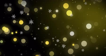 snow sparkle : White snowflakes, golden confetti and bokeh lights on the black Christmas background. 3D render image