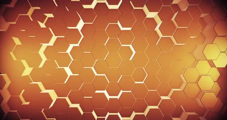 hexagon pattern : Abstract geometric honey gold hexagone background. 4k seamless loop. 3d render. Stock Footage