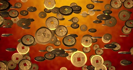 good luck coins : Chinese new year background, Golden coins 3d texture. 3D rendering 4K, seamless loop Stock Footage