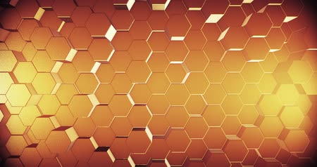 esagono : Abstract geometric honey gold hexagone background. 4k seamless loop. 3d render. Filmati Stock