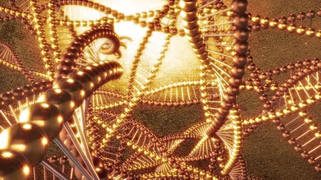luksus : Golden geometric background with swirls of DNA molecules. 3D rendering loop FULL HD