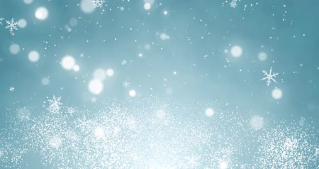 боке : White confetti, snowflakes and bokeh lights on the blue Christmas background.