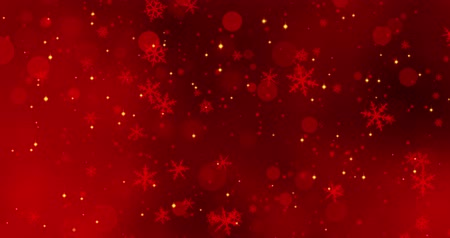 боке : Red confetti, snowflakes and bokeh lights on the red Christmas background.