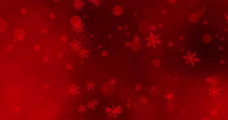 vonk : Red confetti, snowflakes and bokeh lights on the red Christmas background.