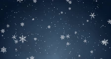 render : White confetti, snowflakes and bokeh lights on the blue Christmas background.