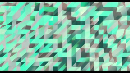 многоугольник : Abstract green 3D geometric pattern. Mosaic metall background. New year texture. 3D animation loop Стоковые видеозаписи