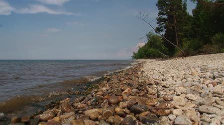 upper peninsula : The shore of Lake Baikal on an autumn day. Pebble beach and forest Stock Footage