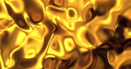 roupagem : Golden wave liquid background. Glamour satin lava texture 3D rendering loop 4k.