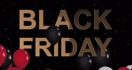 благодарение : Black Friday advertisement with golden sign and black and red balloons, background 4k animation seamless loop Стоковые видеозаписи