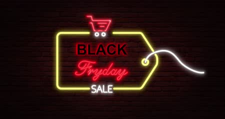 pátek : Black Friday advertisement with neon sign. Loopable animation 4k. 3D rendering