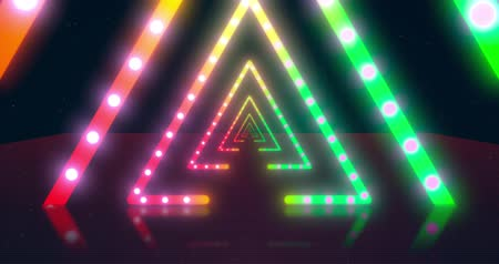 disko : Abstract neon flying triangle tunnel with fluorescent ultraviolet light. Different Colors Rainbow. Seamless loop 4k