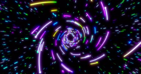 fluorescent : Glowing neon lines tunnel. Blue red pink and violet colorful lighting. Seamless loop 4k animation for night club.