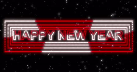 lampy : Happy New Year 2020 red and white neon sign background with lights. Seamless loop 4k animation.