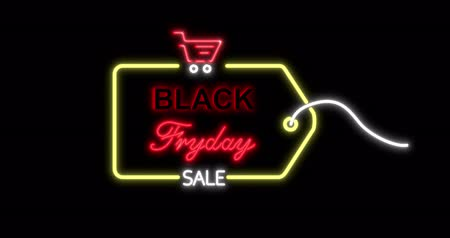 благодарение : Black Friday advertisement with neon sign. Loopable animation 4k. 3D rendering