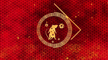 szczur : Red Chinese New Year background with gold, rat, fireworks, glittering stars 3D rendering loop 4k. Magical Happy new year animation.