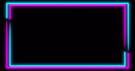 wizualizacja : Neon background with LED frame screens. Fluorescent abstract blue, purple color. looped animation 4k. Wideo