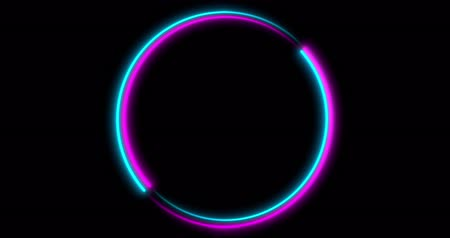 wizualizacja : Neon Circle background with LED frame screens. Fluorescent abstract blue, purple color. looped animation 4k.