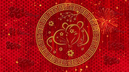 lunar new year : Lunar New Year, Spring Festival black background with rat, fireworks, glittering stars and sakura flowers. Chinese new year animation for longevity, luck. 3D rendering seamless loop 4k video.