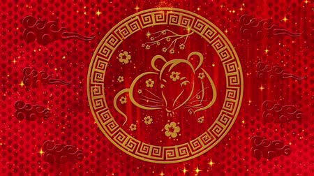 szczur : Lunar New Year, Spring Festival red background with rat, fireworks, glittering stars and sakura flowers. Chinese new year animation for wealth, happiness, luck. 3D rendering seamless loop 4k video.