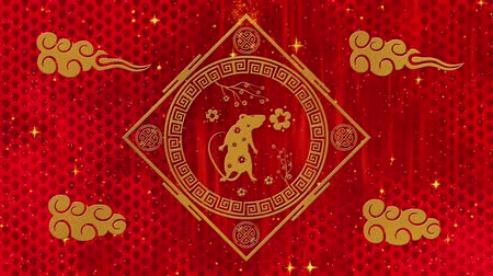 lunar new year : Lunar New Year, Spring Festival background with golden rat, sakura, glittering silk dragon pattern. Chinese new year red paper backdrop for holiday event. 3D rendering animation. Seamless loop 4k Stock Footage