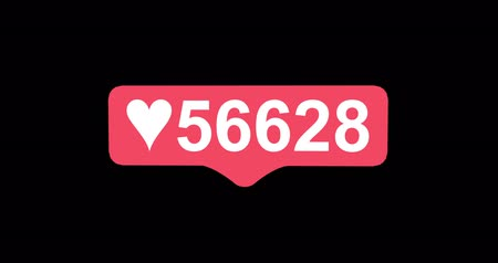 tebliğ : Social media red heart counter, shows likes over time on black background. Tap Like Button Animated 4K. 3D render