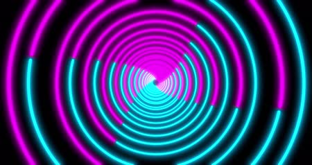 wizualizacja : Neon Circle background with LED Fluorescent tunnel. Ultraviolet abstract blue, purple color. looped animation 4k.