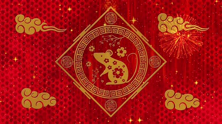 fare : Lunar New Year, Spring Festival background with golden rat, fireworks, glittering stars, dragon pattern. Chinese new year red paper backdrop for holiday event. 3D rendering animation. Seamless loop 4k Stok Video