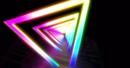 canto : Glowing neon color triangle tunnel. Laser show looped background. Seamless looped animation with ultraviolet blue purple color spectrum 4K.