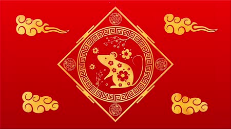 lunar : Lunar New Year, Spring Festival background with golden rat, red silk pattern. Chinese new year red paper backdrop for holiday event. 3D rendering animation. Seamless loop 4k