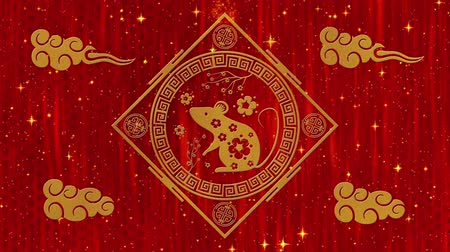 lunar new year : Lunar New Year, Spring Festival background with golden rat, glittering stars and clouds. Chinese new year red paper backdrop for holiday event. 3D rendering animation. Seamless loop 4k video. Stock Footage