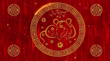 lunar new year : Lunar New Year, Spring Festival background with golden rat, glittering stars. Chinese new year animation for holiday event. 3D rendering seamless loop 4k video.