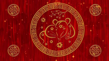 lunar new year : Lunar New Year, Spring Festival red silk background with golden rat, glittering stars and clouds. Chinese new year animation for holiday event. 3D rendering seamless loop 4k video. Stock Footage