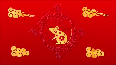 lunar new year : Lunar New Year, Spring Festival background with golden rat, fireworks, glittering stars. Chinese new year animation for holiday event. 3D rendering seamless loop 4k video.
