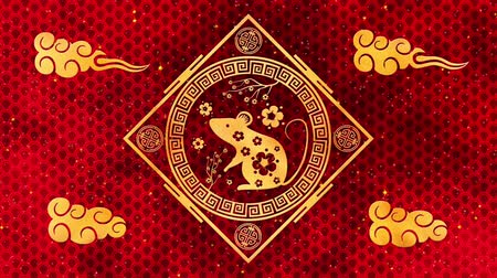 лунный : Lunar New Year, Spring Festival background with golden rat, red silk pattern. Chinese new year red paper backdrop for holiday event. 3D rendering animation. Seamless loop 4k