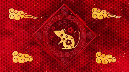 lunar new year : Lunar New Year, Spring Festival background with golden rat, red silk pattern. Chinese new year red paper backdrop for holiday event. 3D rendering animation. Seamless loop 4k