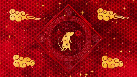 szczur : Red Chinese New Year background with gold, rat, fireworks, 3D rendering loop 4k. Magical Happy new year animation. Wideo