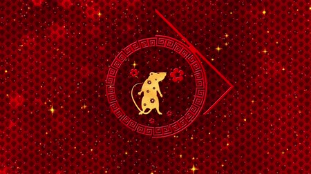 red rodent : Red Chinese New Year background with gold, rat, fireworks, glittering stars 3D rendering loop 4k. Magical Happy new year animation.
