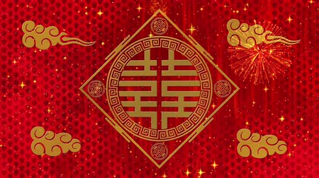 cny : Lunar New Year, Spring Festival background with Double Happiness, simbol, clouds, glittering stars. Chinese new year red paper backdrop for event. 3D rendering animation. Seamless loop 4k video
