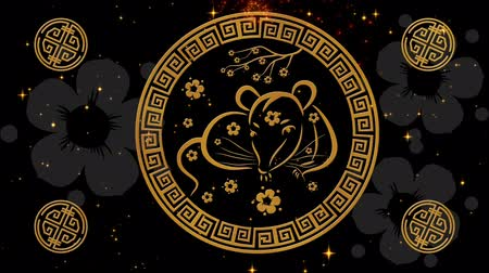 uzun ömürlü : Lunar New Year, Spring Festival background with rat simbol, sakura, glittering fireworks. Chinese new year black magical night backdrop for holiday event 3D rendering animation. Seamless loop 4k video