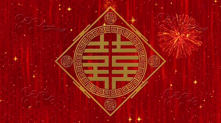 draak : Lunar New Year, Spring Festival background with Double Happiness, simbol, clouds, glittering stars. Chinese new year red paper backdrop for event. 3D rendering animation. Seamless loop 4k video